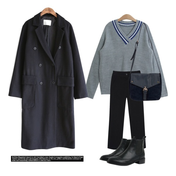 myblin 일자핏 골지 팬츠,TODAY ME 라입 브이넥 니트,common unique [OUTER] HIGH DOUBLE STRAP LONG COAT등을 매치한 코디