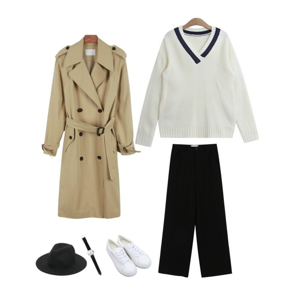 daily monday Double button trench coat10/4 입고예정,daily monday Maxi straight slacks,TODAY ME 라입 브이넥 니트등을 매치한 코디
