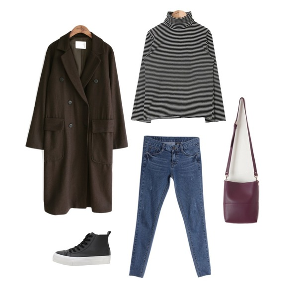 IM3 캣츠 딥 스키니,common unique [OUTER] HIGH DOUBLE STRAP LONG COAT,AIN cutting sleeve high-neck polar T (2 colors)등을 매치한 코디