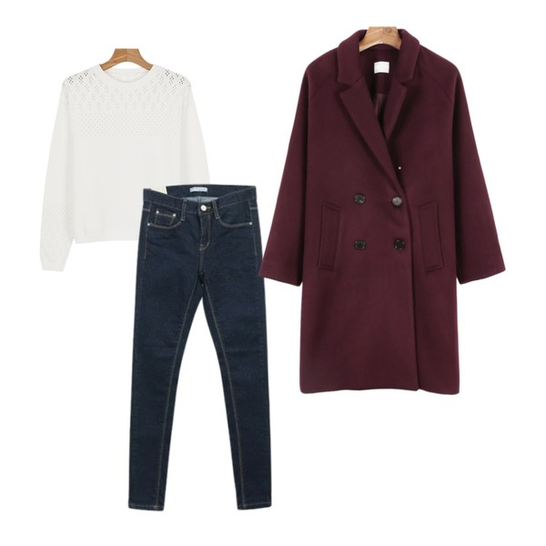 daily monday Cocoon color coat,daily monday Punching pattern knit,NEW NEED NOW 네프 스키니 팬츠등을 매치한 코디