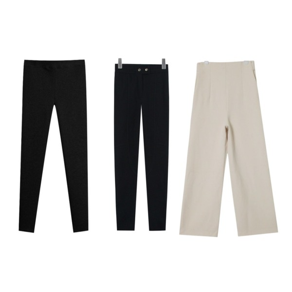 TODAY ME [leggings]하이 심플 A팬츠,TODAY ME [leggings]댄디 레깅스,AIN side strap button slacks (3 colors)등을 매치한 코디