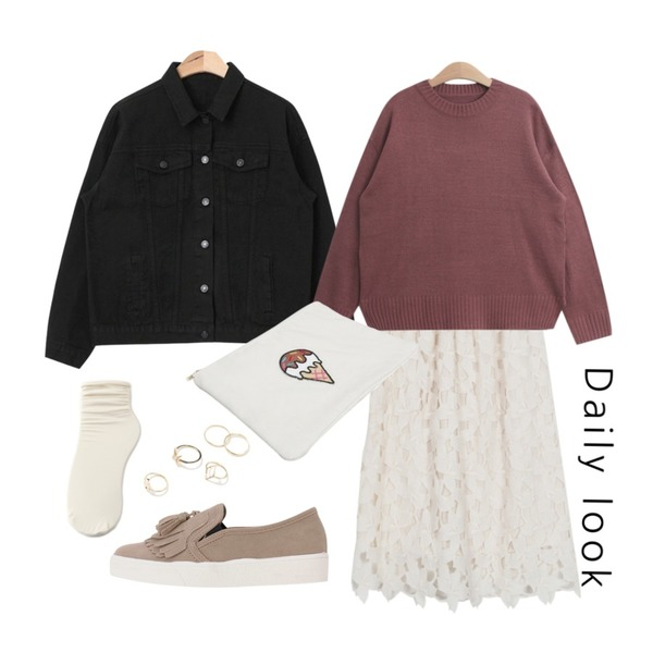daily look,AIN basic fit cotton jacket (4 colors),From Beginning Blossom lace banding skirt_H (size : free)등을 매치한 코디