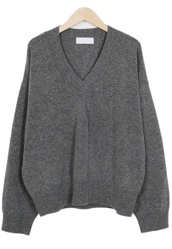Lambswool V neck knit_K(size : free)