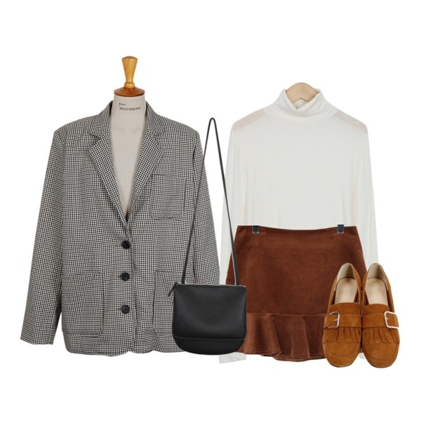 From Beginning Smooth skin turtle T_K (size : free),From Beginning Corduroy frill mini skirt_K (size : S,M),From Beginning Grand check single jacket_K (size : free)등을 매치한 코디