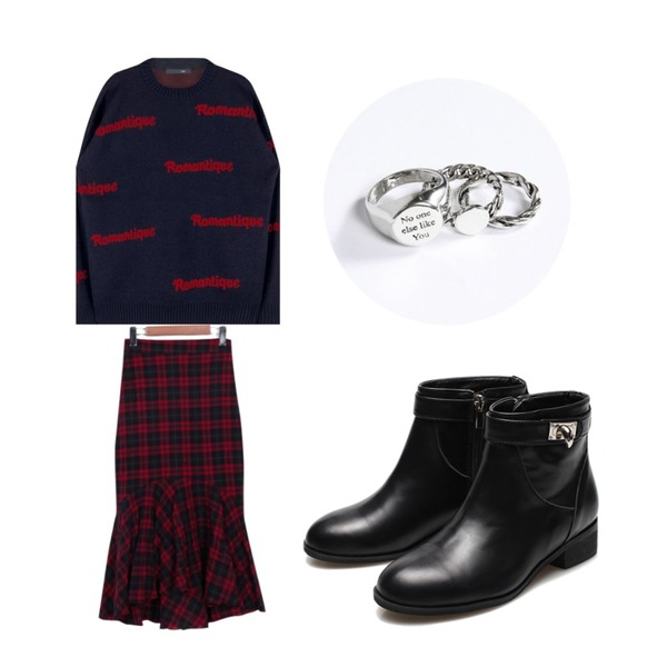 Reine Rimera Ankle Boots,From Beginning Mermaid tartan check skirt_M (size : free),MIXXMIX Romantique Knit   (Navy)등을 매치한 코디