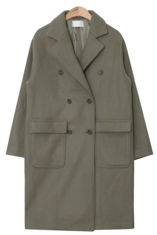 pocket double long coat (3 colors)