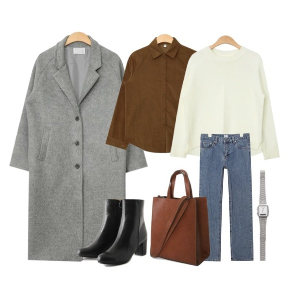 AIN raglan round knit (4 colors),AIN basic coduroy shirts (4 colors),AIN simple daily wool long coat (3 colors)등을 매치한 코디