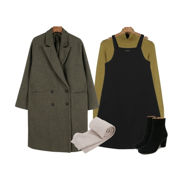 daily monday Check wool over coat,daily monday Point sleeve pola tee,daily monday Soft strap one-piece등을 매치한 코디