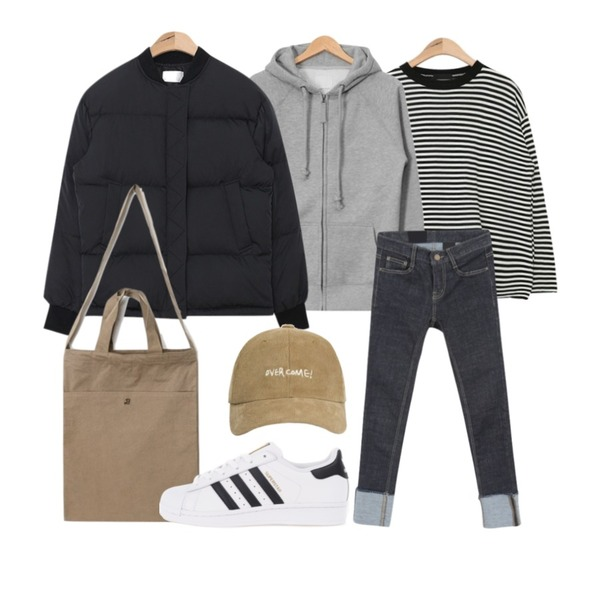 AIN neck point stripe knit (3 colors),AIN round short padding jumper (3 colors),AIN rope strap hoody jumper (10 colors)등을 매치한 코디