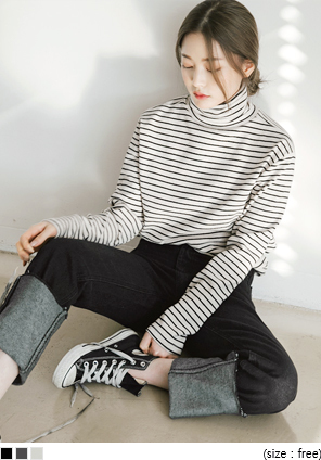 COLOR STRIPE HIGH NECK T