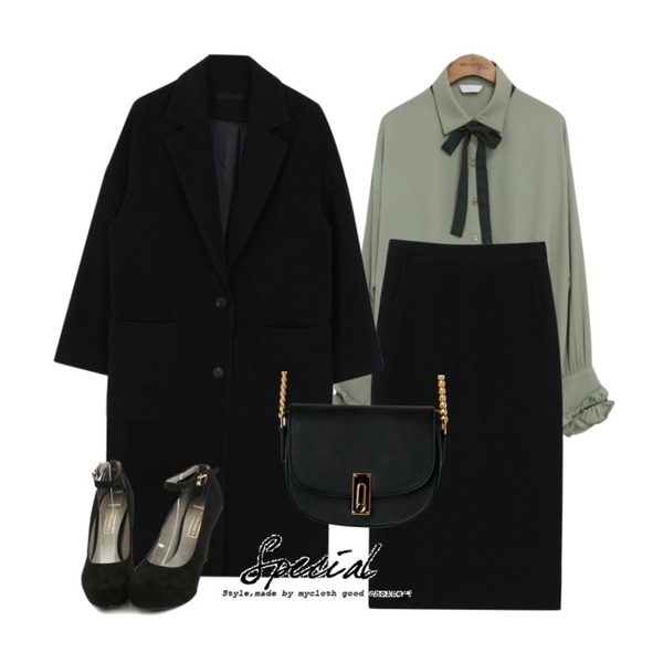 biznshoe Straight long skirt (2color),biznshoe Maxi long coat (4color),common unique [TOP] RIBBON FRILL BLOUSE등을 매치한 코디