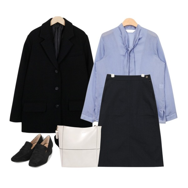 AIN cotton front slit skirt (3 colors),AIN feminine stripe tie blouse (2 colors),From Beginning Away single button jacket_B (size : free)등을 매치한 코디