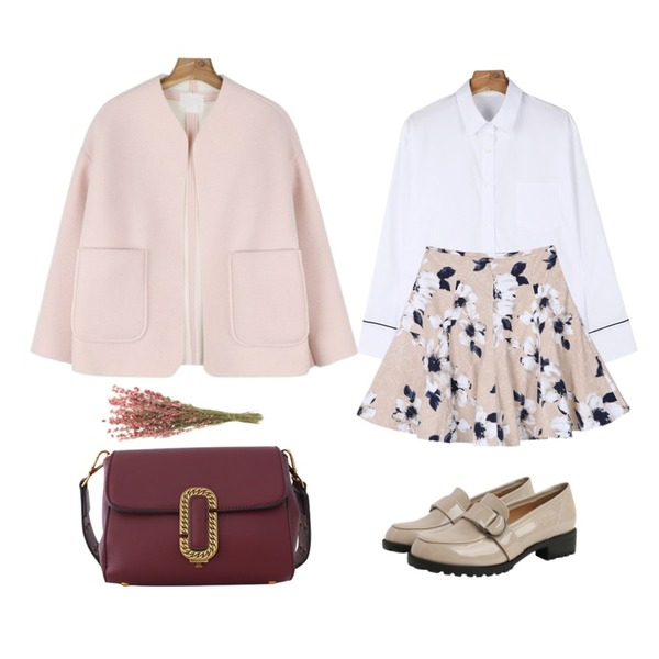 daily monday Unique sleeve shirt,daily monday Fluffy no-collar jacket,TWEE flower flare skirt등을 매치한 코디