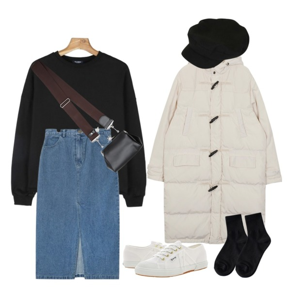 AIN front slit long denim skirts (2 colors),From Beginning Brick warm duffle padding_B (size : free),daily monday Daily cutting man to man등을 매치한 코디