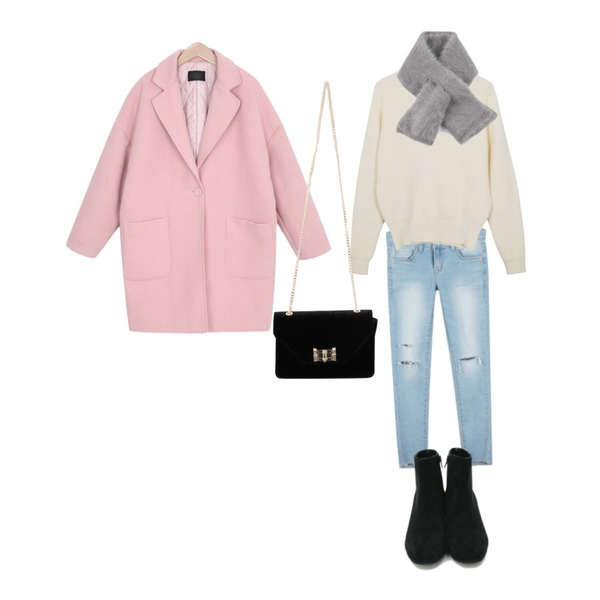 daily monday Cutting tension denim skinny,myblin 소프트 누빔 코트 (7color),From Beginning Day smooth pola knit_M (size : free)등을 매치한 코디