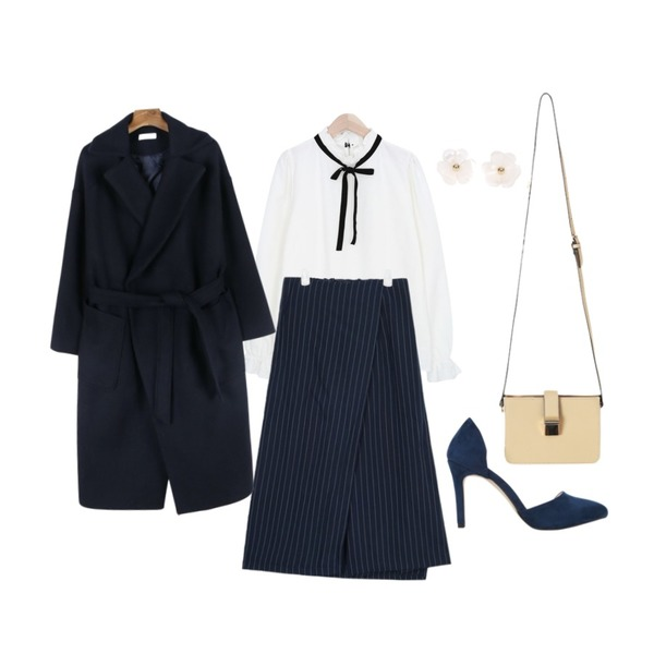 AIN stripe wrap wide pants (2 colors),daily monday Modern belted wool coat,myblin 벨벳 리본 블라우스등을 매치한 코디