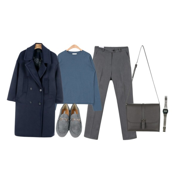 daily monday Wide collar double button coat,AIN daily useful round T (4 colors),MINIBBONG 얼라이드 슬랙스 (가벼운 기모원단으로 따뜻하지만 슬림하게!)등을 매치한 코디