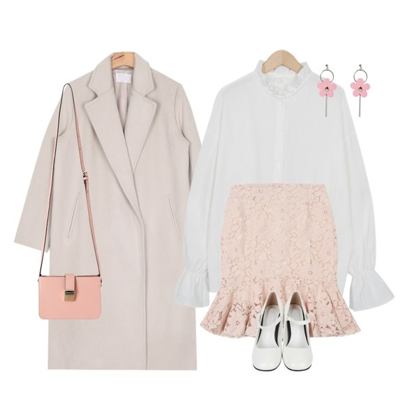 AIN soft color modern wool coat (2 colors),From Beginning Moment ruffle blouse_H (size : free),TWEE 머메이드 레이스 skirt등을 매치한 코디