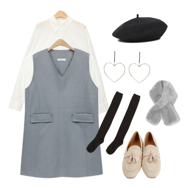 AIN basic wool beret (6 colors),NEW NEED NOW 브이넥 포켓 라인 원피스(2color),AIN over fit pocket shirts (3 colors)등을 매치한 코디