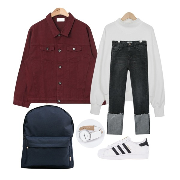 biznshoe Simple color backpack (3color),AIN casual pocket cotton jacket (3 colors),From Beginning Angle neck cotton mtm_S (size : free)등을 매치한 코디
