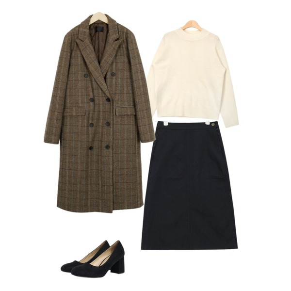 From Beginning Modern double check coat_S (size : free),AIN vivid half neck knit (4 colors),AIN cotton front slit skirt (3 colors)등을 매치한 코디