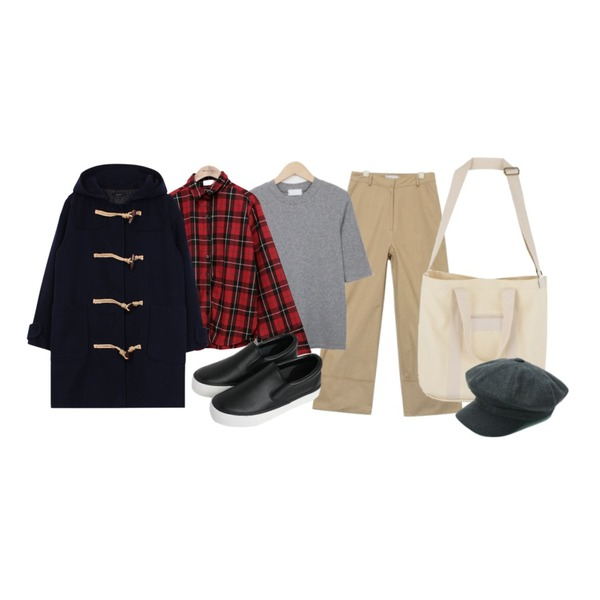 common unique [TOP] VINTAGE CHECK WOOL SHIRTS,AIN wide fit cuffs cotton pants (2 colors),From Beginning Cover golgi slim T_H (size : free)등을 매치한 코디