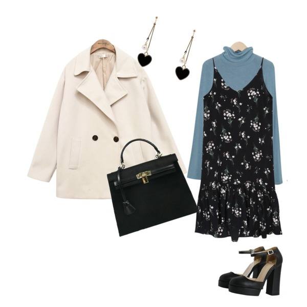 common unique [OUTER] BIG COLLAR DOUBLE COAT,From Beginning Slit cuffs tencel T_M (size : free),myblin 꽃다발 프릴 뷔스티에 원피스등을 매치한 코디