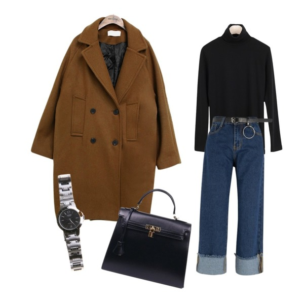 MIXXMIX 하트 롤업 데님팬츠,common unique [OUTER] WOOL CLASSIC DOUBLE COAT ,LOOK CHIC Napping Pola Tee (4 color)등을 매치한 코디