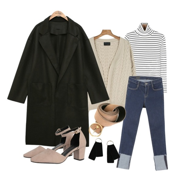 common unique [OUTER] WOOL CUTTING SLIT COAT,daily monday Stripe slim golgi pola tee,daily monday Non-button cable cardigan등을 매치한 코디