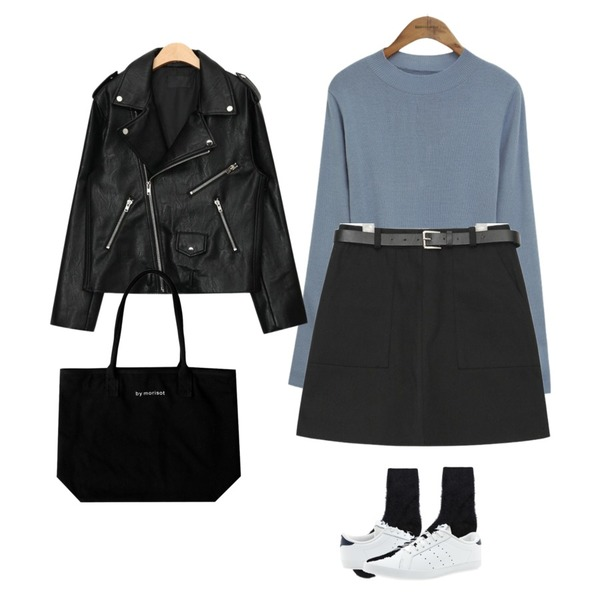 common unique [TOP] BASIC ROUND NECK SLIM KNIT,AIN out pocket half-banding skirt (2 colors),AIN high-quality overfit rider jacket (2 colors)등을 매치한 코디