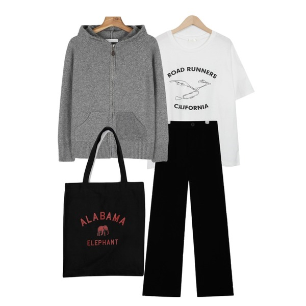 daily monday Knit hood zip-up cardign,AIN silky touch highwaist slacks (3 colors),From Beginning Road pastel cotton T_H (size : free)등을 매치한 코디