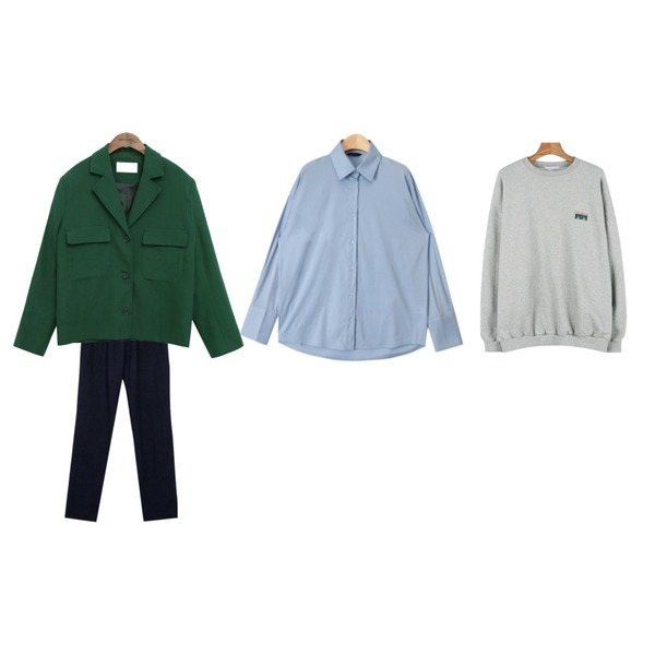 AIN trendy long cuffs shirts (2 colors),common unique [OUTER] STANDARD TWO POCKET CROP JACKET,From Beginning Ade athleisure pants_K(size : free)등을 매치한 코디