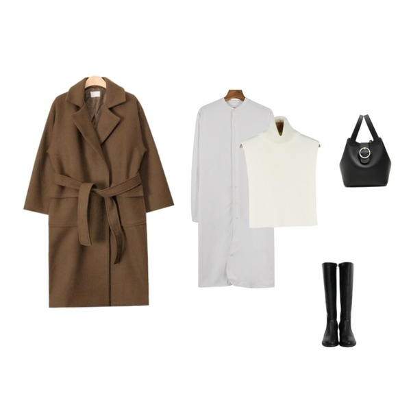 daily monday China shirt one-piece,AIN out pocket strap double coat (3 colors),daily monday Turtleneck warmer등을 매치한 코디