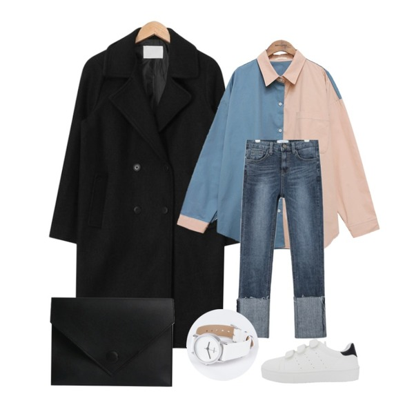 AIN gently wool double coat (3 colors),AIN wide roll up skinny denim pants (2 colors),common unique [TOP] PASTEL COLORING LOOSE SHIRTS 등을 매치한 코디