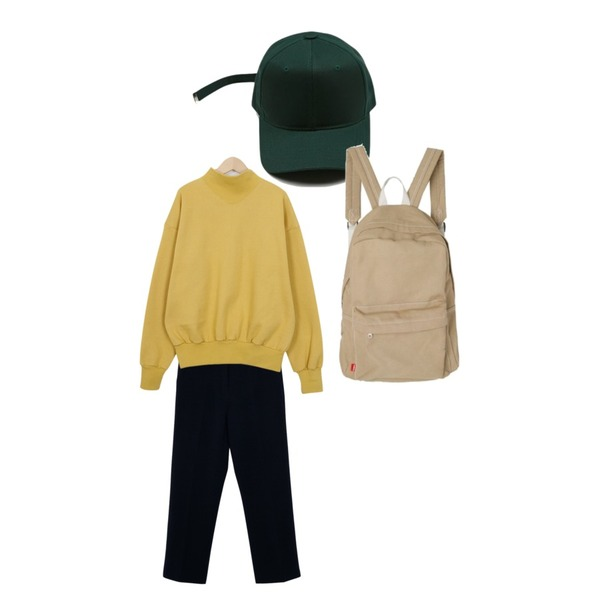 daily monday Long strap plain cap,From Beginning Angle neck cotton mtm_S (size : free),From Beginning Spring crop slim slacks_B (size : S,M,L)등을 매치한 코디
