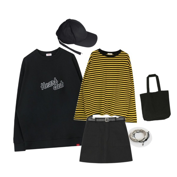 DORA 파스텔빈슨에코백,LOOK CHIC LONG STRAP CAP,MIXXMIX Heart Logo Sweat shirt등을 매치한 코디