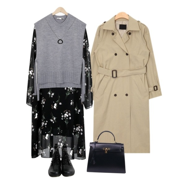 From Beginning Blossom shiffon ops_K(size : free),AIN classic mood light trench coat (2 colors),From Beginning Strap open knit vest_K(size : free)등을 매치한 코디