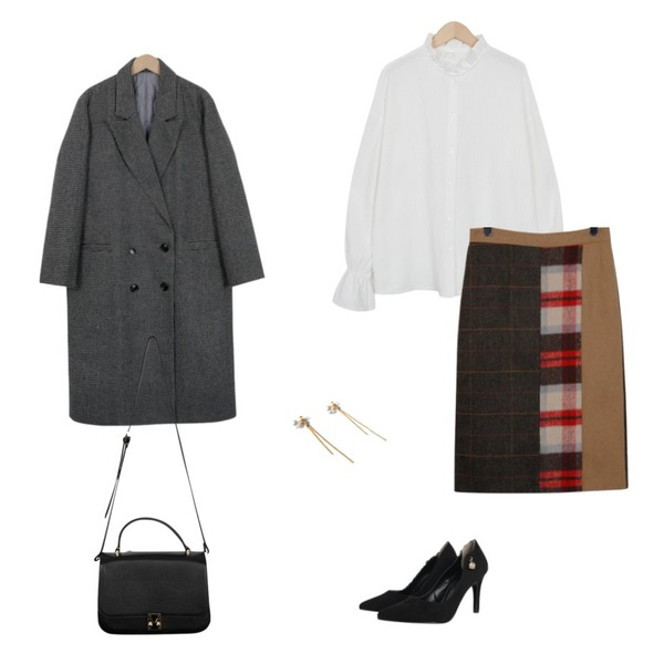 From Beginning Peter check tailor coat_B (size : free),From Beginning Made_bottom-093_mix check skirt,From Beginning Moment ruffle blouse_H (size : free)등을 매치한 코디