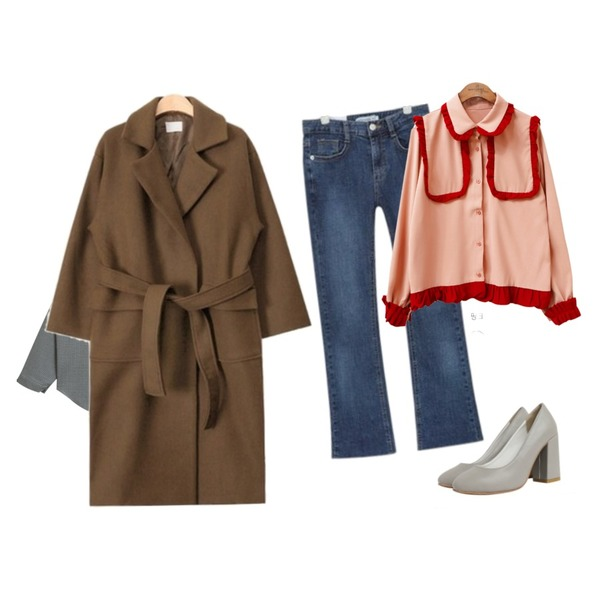 AIN SHALOM semi boots ver.2,common unique [TOP] COLORING FRILL BLOUSE,TODAY ME 킨더 체크 셔츠등을 매치한 코디