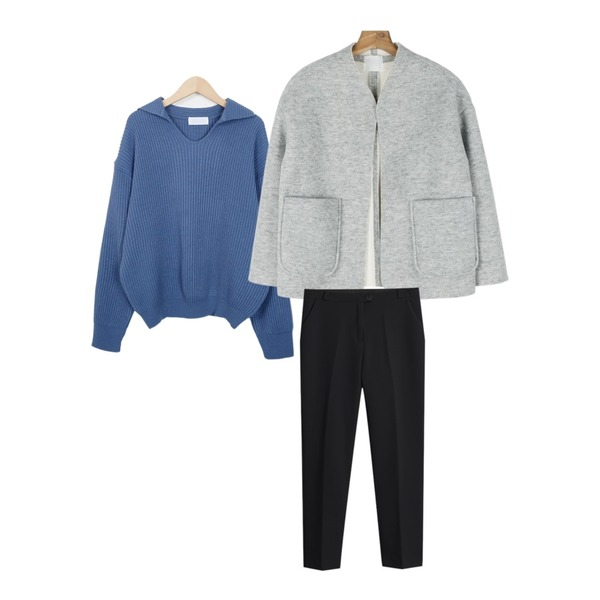 daily monday Fluffy no-collar jacket,TODAY ME 어텀 슬렉스,From Beginning Ather collar cable knit_S (size : free)등을 매치한 코디