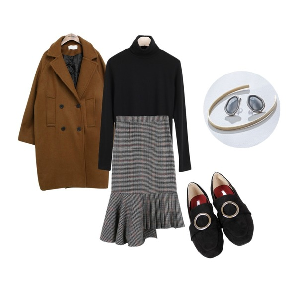 daily monday Mermaid unbal wool skirt,common unique [OUTER] WOOL CLASSIC DOUBLE COAT ,LOOK CHIC Napping Pola Tee (4 color)등을 매치한 코디