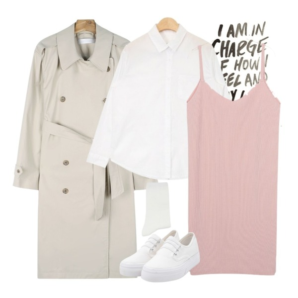 the writing,daily monday Button point trench coat,AIN cotton washing basic shirts (3 colors)등을 매치한 코디