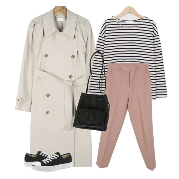 Zemma World 젠틀-슬렉스 (ver.S/S슬림핏),daily monday Button point trench coat,From Beginning Much stripe basic T_S (size : free)등을 매치한 코디