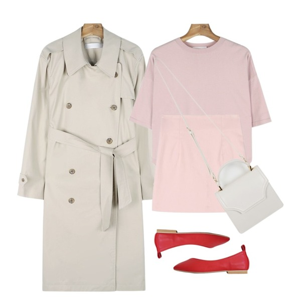 LOVELY SHOES 벨보아 플랫슈즈 1cm,daily monday Button point trench coat다크베이지 03/13 입고예정,daily monday Drop shoulder unbal knit등을 매치한 코디