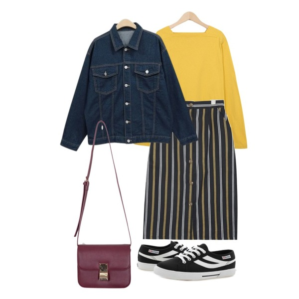 AIN vintage stripe midi skirt (2 colors),NEW NEED NOW 스프링 청자켓(3color),From Beginning 4 season square neck T_S (size : free)등을 매치한 코디