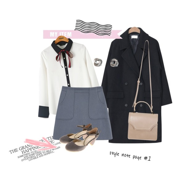Untitled,AIN basic mood boxy double coat (3 colors),From Beginning Bloom mini tote bag_K(size : one)등을 매치한 코디