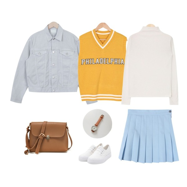From Beginning Vintage color cotton jacket_P (size : free),AIN neck point span polar T (5 colors),BULLANG GIRL 필라델피아니트조끼등을 매치한 코디