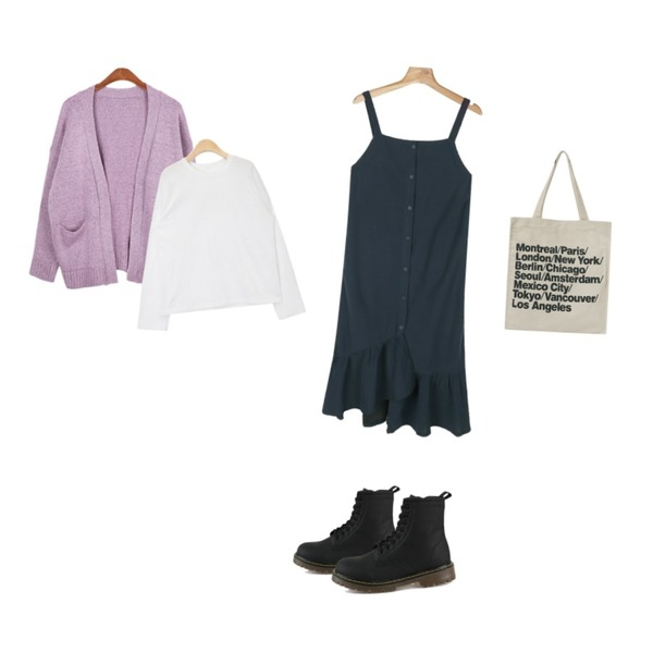 Cats Onepiece 마틴 커플 워커,daily monday Flare long button one-piece등을 매치한 코디
