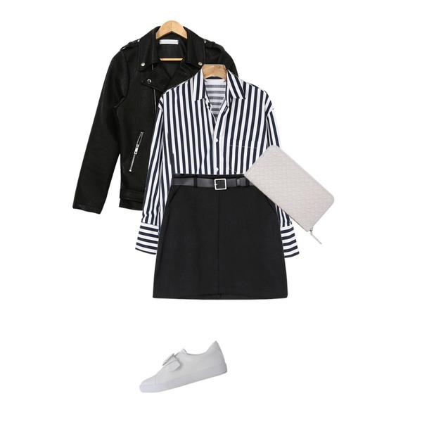 daily monday Simple suit SET,PSYCHOSHOP 시크레더 라이더자켓,daily monday Wide stripe boxy shirt등을 매치한 코디
