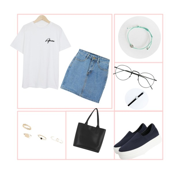 frame,From Beginning Strock cotton round T_M (size : free),LOOK CHIC daily denim skirts (2 color)등을 매치한 코디
